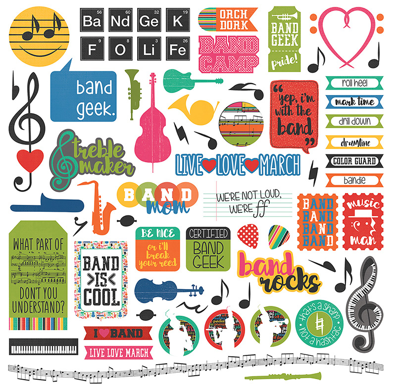 Photo play paper band geek collection 12 x 12 cardstock stickers elements