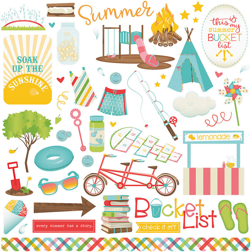 Photo Play Paper Summer Bucket List Elements One Stickers