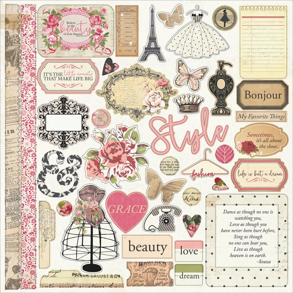 Scrapbook paper collections - Photo Play Paper Belle Vie Collection 12 X 12 Cardstock Stickers Elements