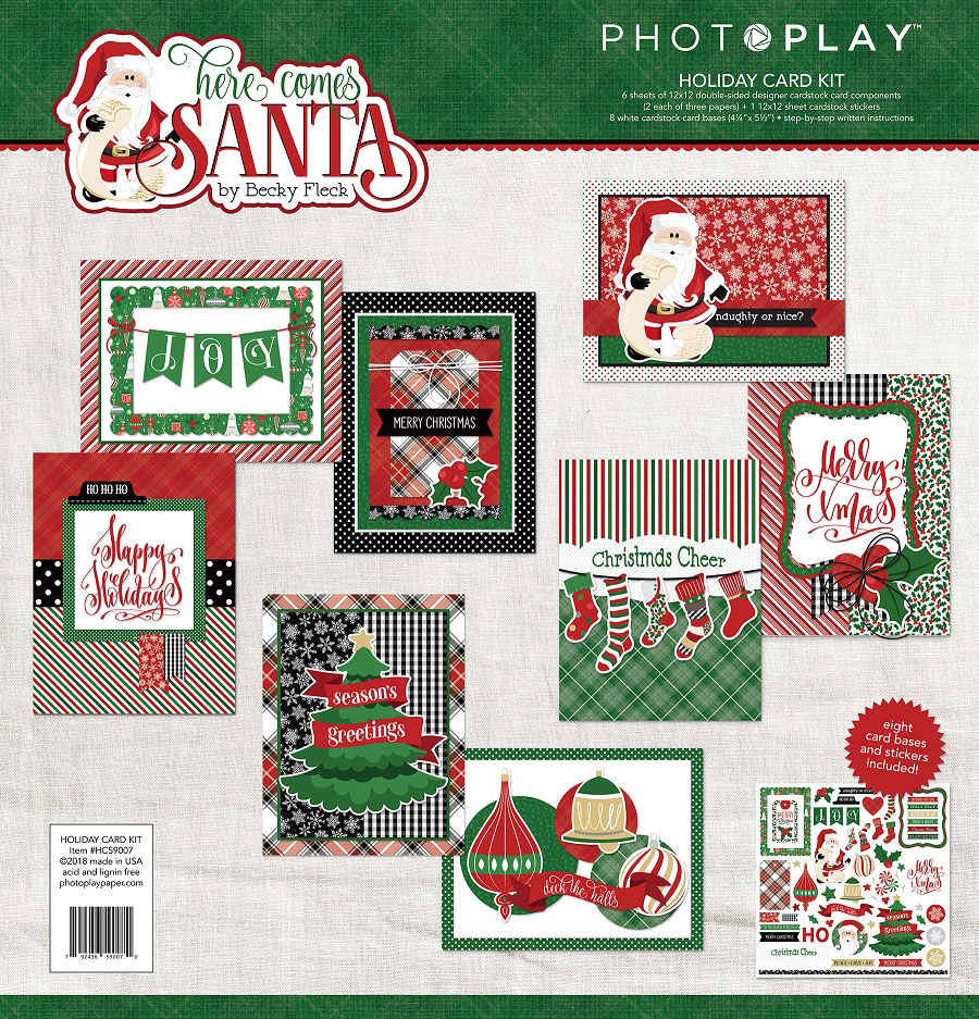 Photo Play Paper Here Comes Santa Card Kit