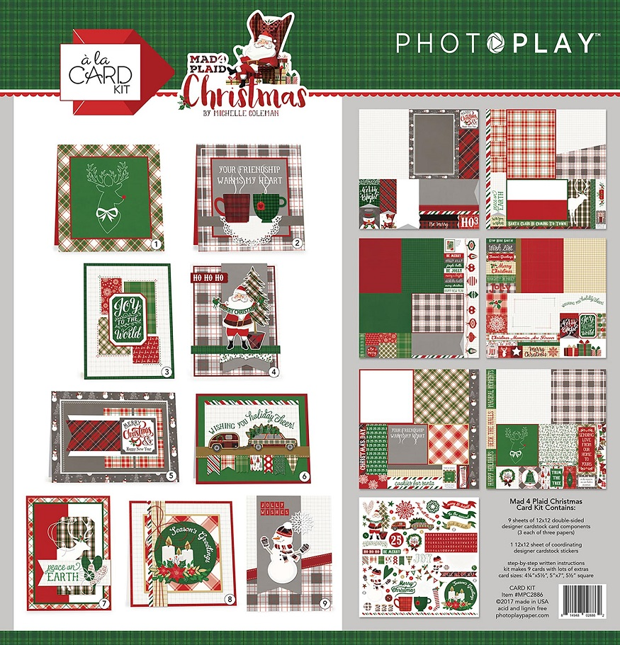 Photo Play Paper Mad 4 Plaid Christmas Card Kit