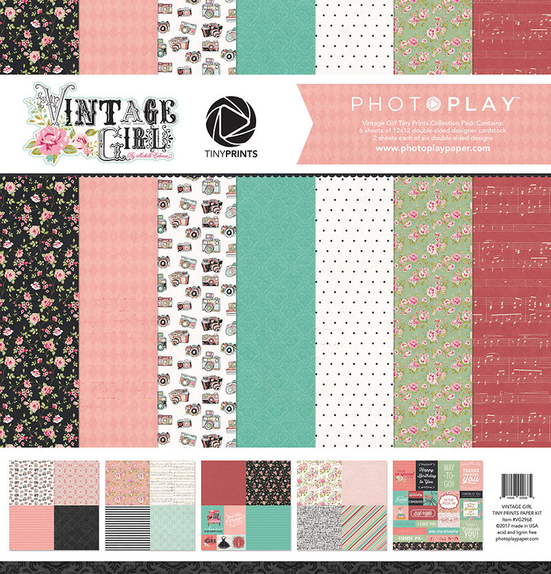 photo play paper vintage girl tiny prints 12x12 collection pack