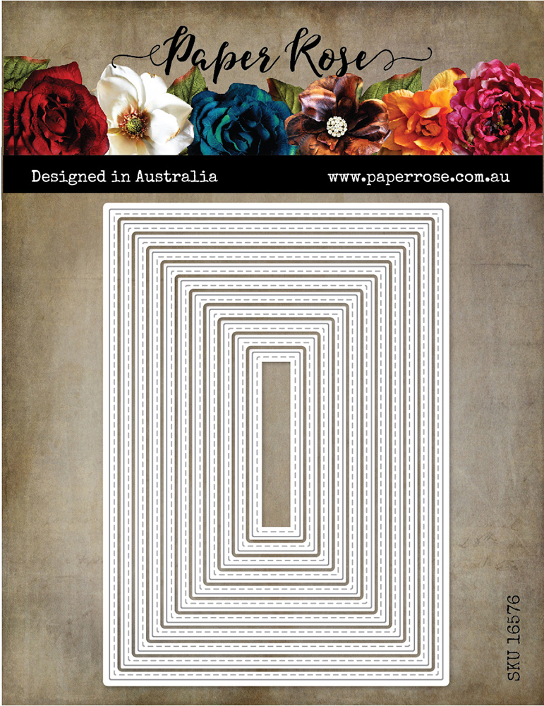 Paper Rose Stitched Rectangle Die Australian