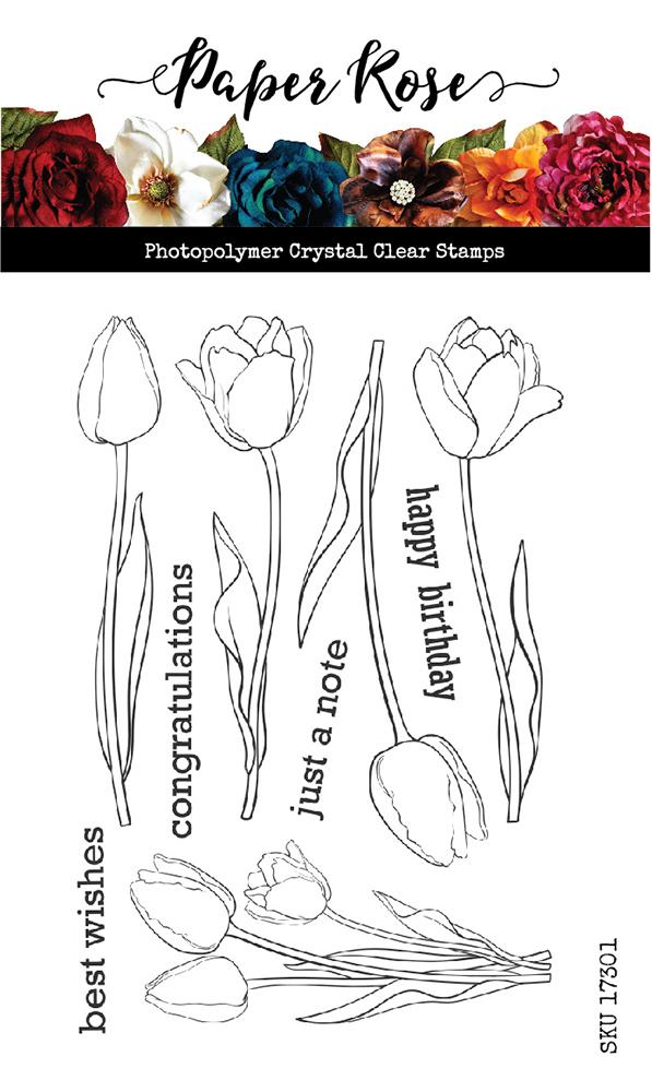 Paper Rose tulips stamp