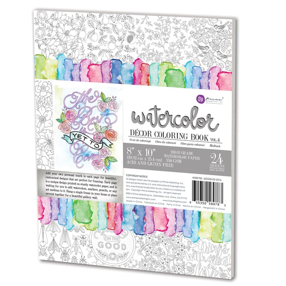 Prima Volume 4 Watercolor Decor Coloring Book