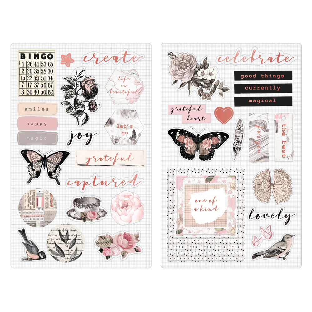 Prima Amelia Rose Chipboard Stickers with Foil Accents