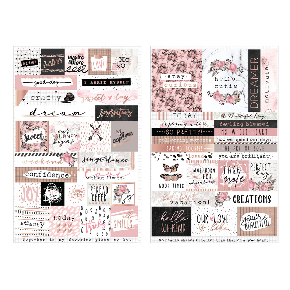 Prima Amelia Rose Words and Quotes Stickers with Foil Accents