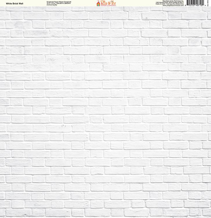 Ella And Viv Paper Company Brick Backgrounds Collection 12 X White
