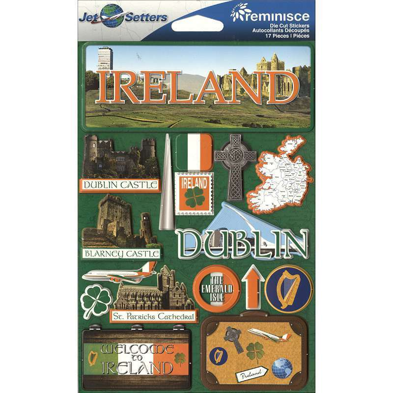 Reminisce jetsetters collection 3 dimensional die cut stickers ireland