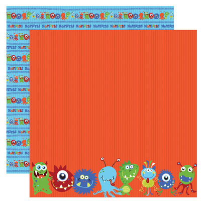 reminisce monsters collection 12 x 12 double sided paper