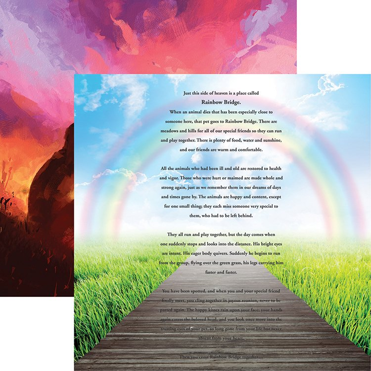 Reminisce Pawprints On My Heart Rainbow Bridge Paper