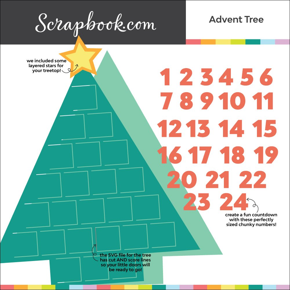 Digital Cut File Bundle - Advent Tree - Calendar SVG and PNG