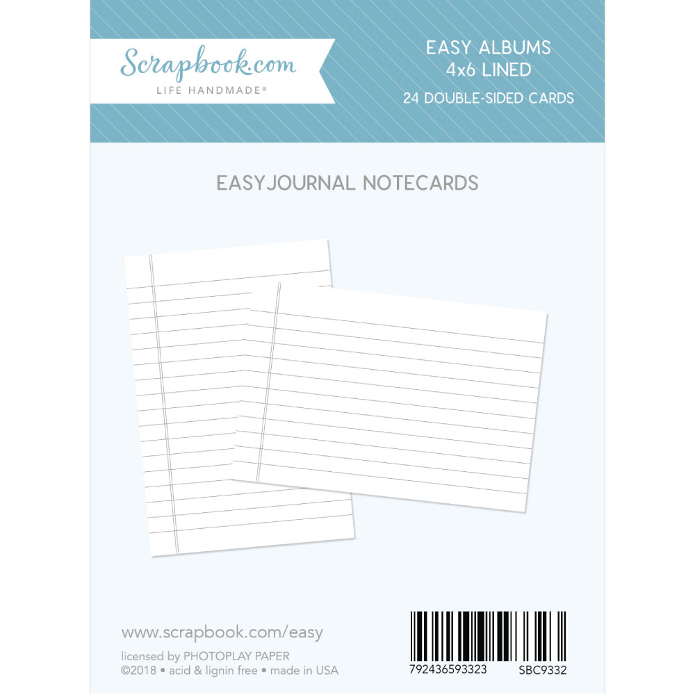 4 X 6 Lined Journaling Cards For Easy Albums