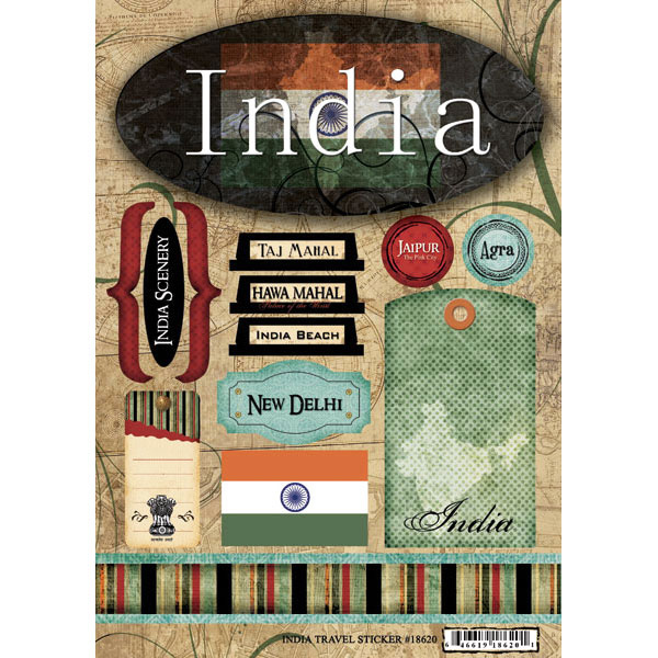 Scrapbook Customs World Collection India Cardstock Stickers