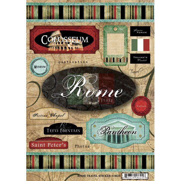 Scrapbook Customs World Collection Italy Cardstock Stickers