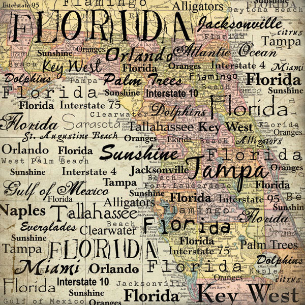 Sbook Customs United States Collection Florida 12 X 12 Paper Map
