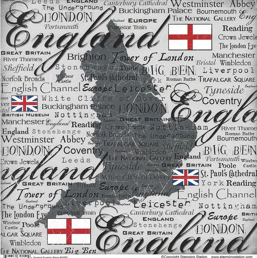 Scrapbook paper england - Scrapbook Customs World Collection England 12 X 12 Paper Scratchy