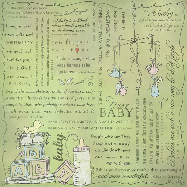 Scrapbook Customs Religious Collection 12 X 12 Paper Quotes Baby