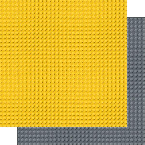Scrapbook Customs Building Blocks Yellow And Gray Paper