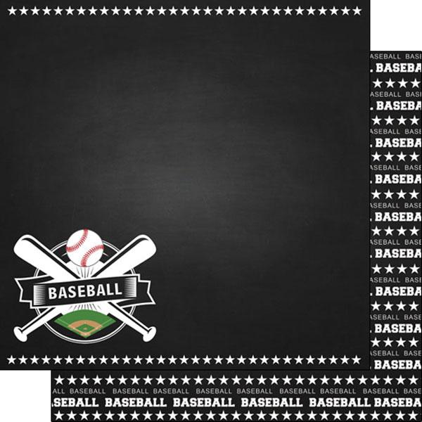 Scrapbook Customs Sports Baseball Chalkboard Paper