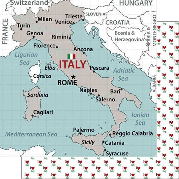 Scrapbook Customs Adventure Italy Map Paper