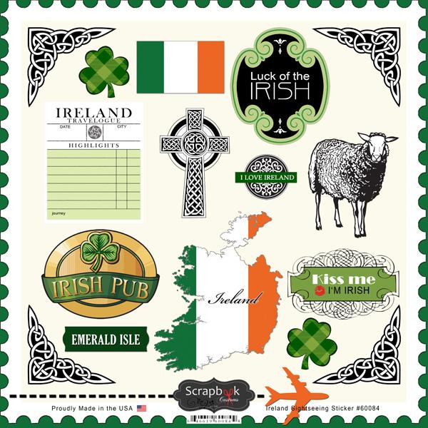 Scrapbook Customs Ireland Sightseeing Stickers