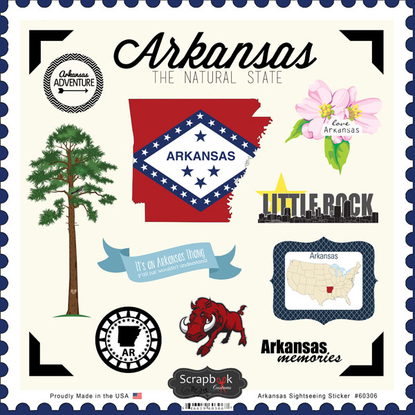 Scrapbook customs state sightseeing collection 12 x 12 cardstock stickers arkansas