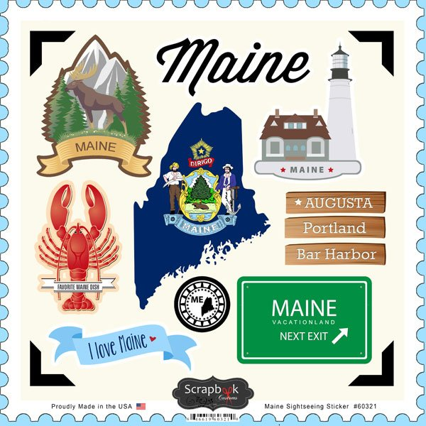 Scrapbook customs state sightseeing collection 12 x 12 cardstock stickers maine