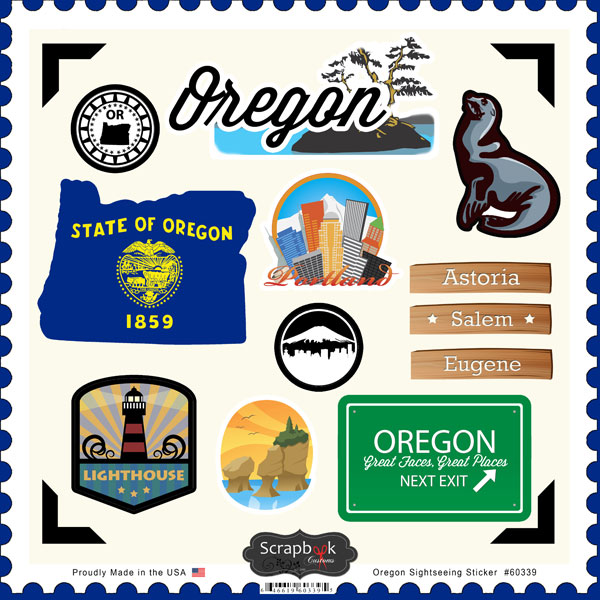 Scrapbook customs state sightseeing collection 12 x 12 cardstock stickers oregon