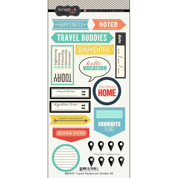 Scrapbook Customs Travel Adventure Two Stickers