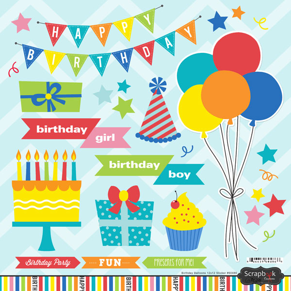 Scrapbook Customs Happy Birthday Balloons Stickers