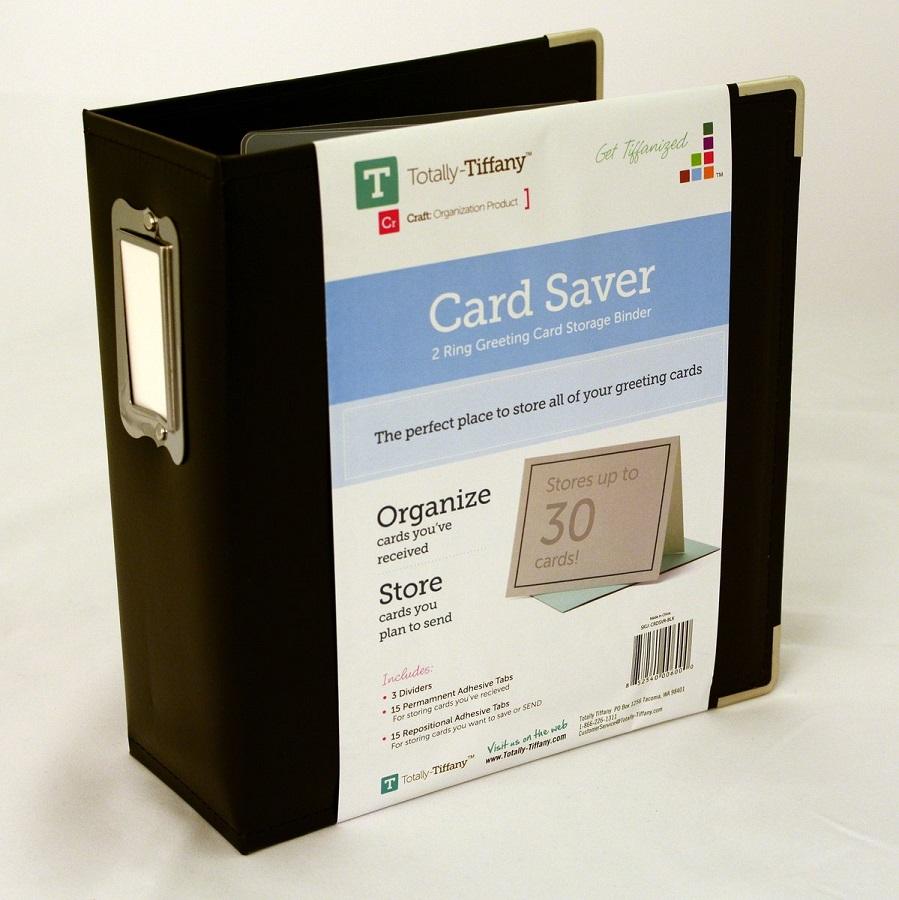 Totally Tiffany Black Card Saver 2 Ring Greeting Card Storage Binder