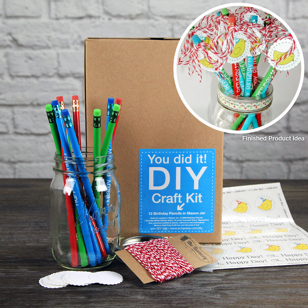 SRM Press Inc Birthday Pencils In Mason Jar DIY Craft Kit
