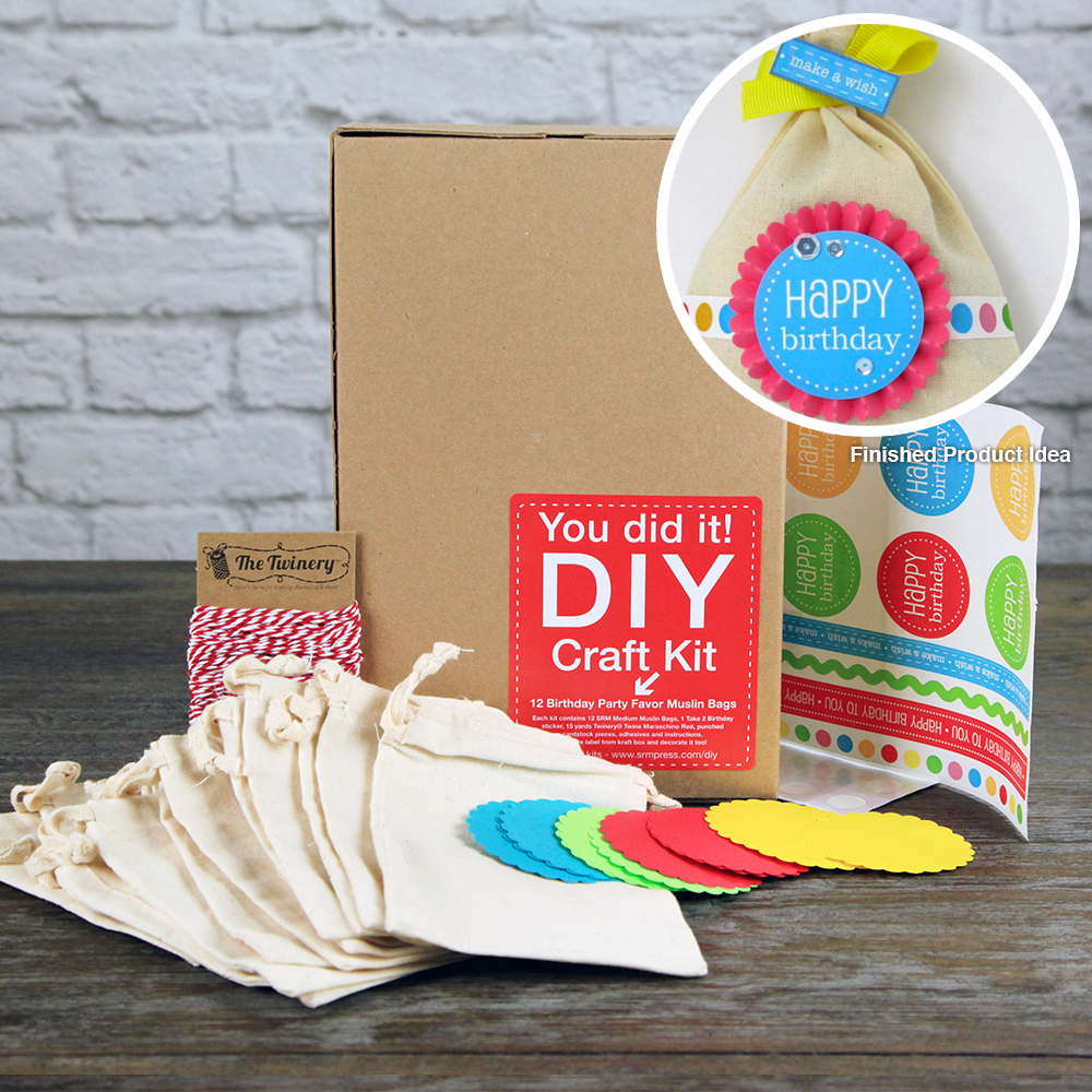 SRM Press Inc. Birthday Party Favor Muslin Bags DIY Craft Kit
