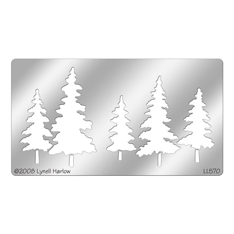Christmas Tree Stencils: Stampendous Pine Trees Metal Stencil
