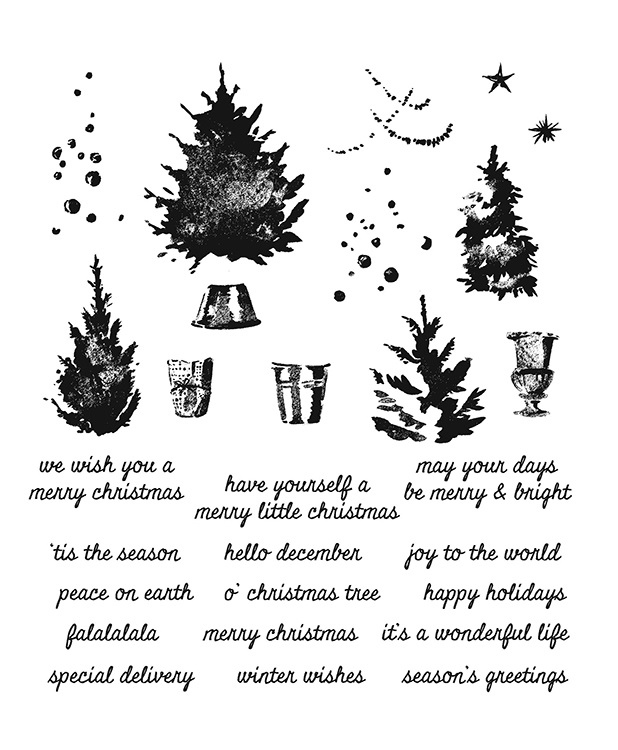 Stampers Anonymous Tim Holtz Christmas Cling Mounted Rubber Stamp Set  Watercolor Trees