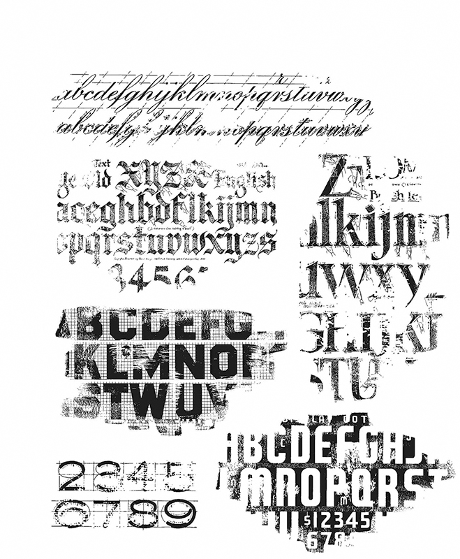 Tim Holtz Stampers Anon CMS397 CLING RBBR STAMP SET FADED TYPE
