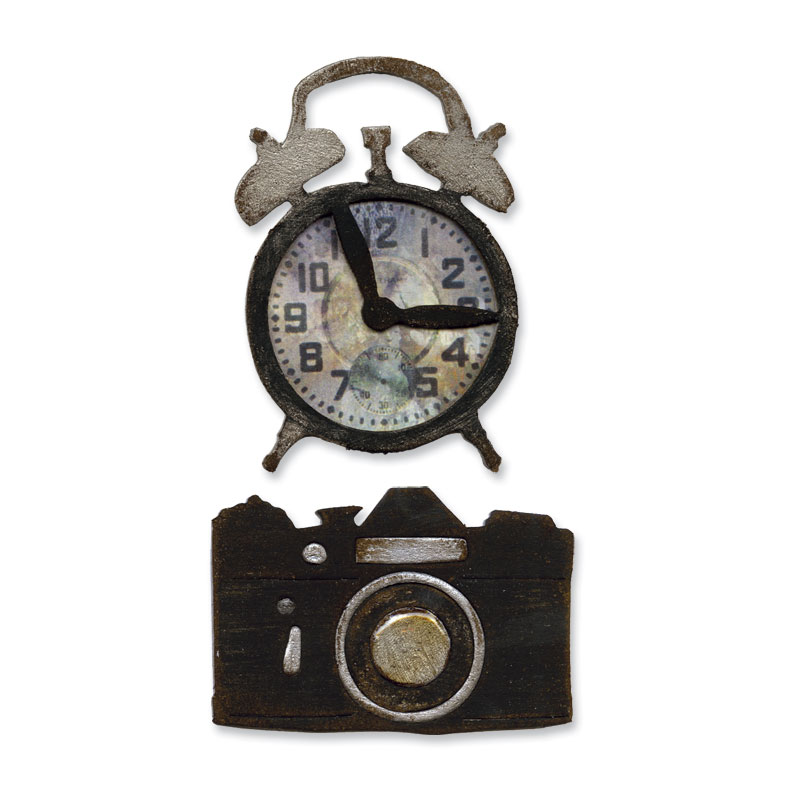 sizzix tim holtz alterations collection movers and shapers die vintage alarm clock and camera set