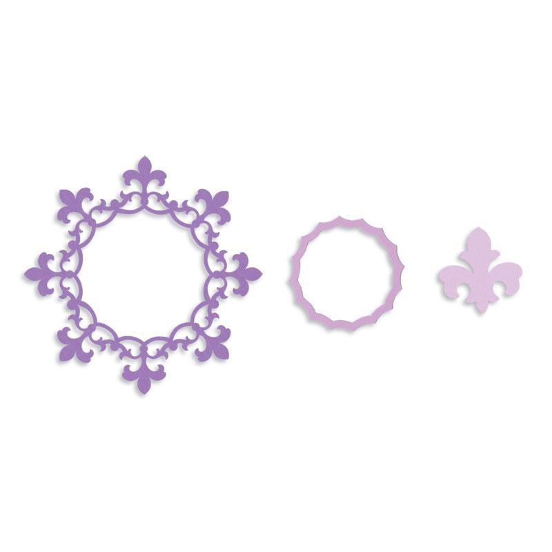 sizzix circle frame with fleur de lis edging framelits die
