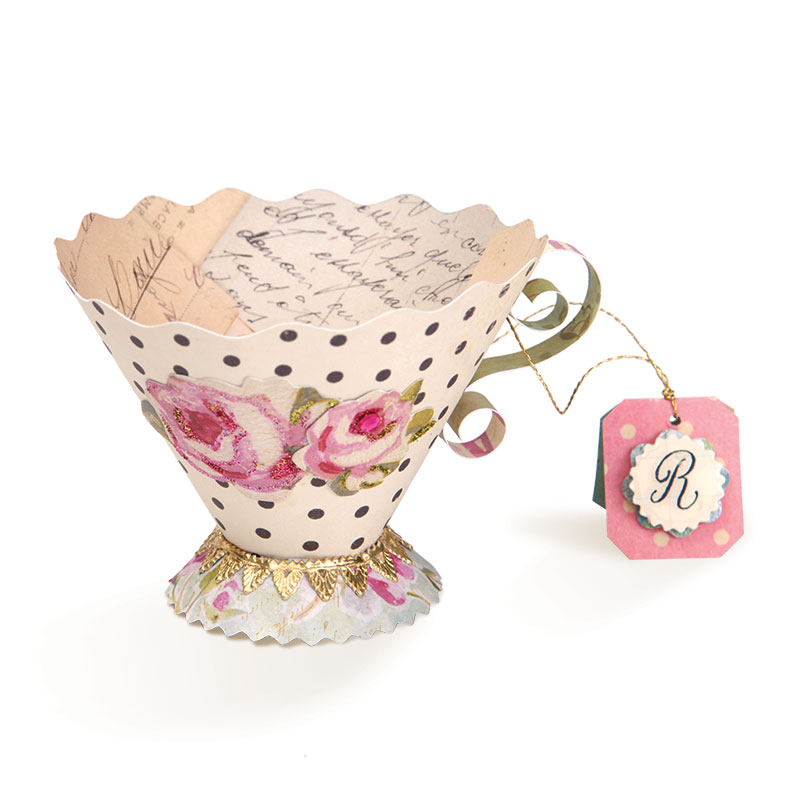 sizzix 3d tea cup bigz l die cutting template