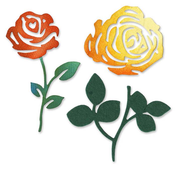 sizzix sizzlits die die cutting template roses flower set