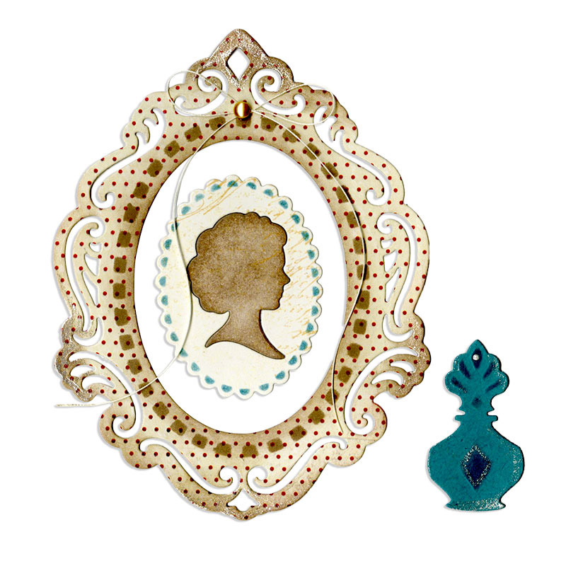 Sizzix Victorian Cameo Frame and Perfume Bottle Thinlits Die