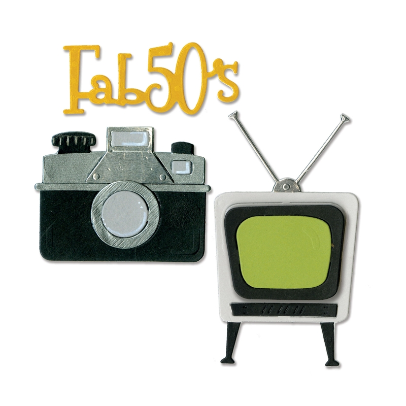 sizzix 1950s retro tv camera and fab 50s thinlits die