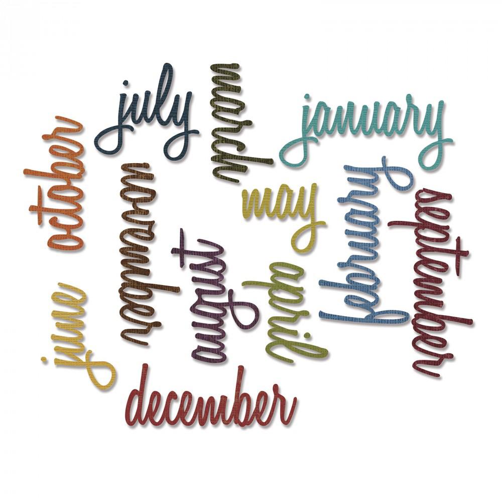 Sizzix Tim Holtz Alterations Calendar Words Script Thinlits Die
