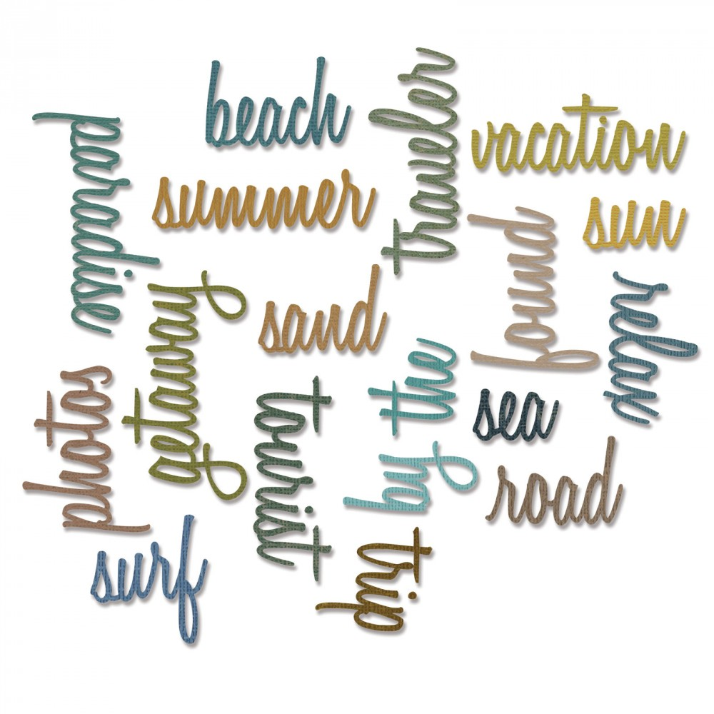 How to scrapbook words - Sizzix Tim Holtz Alterations Collection Thinlits Die Vacation Words Script