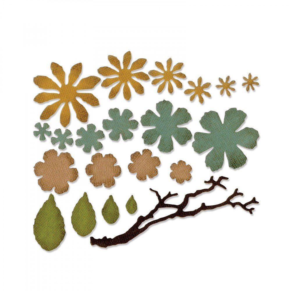 sizzix alterations small tattered florals thinlits dies
