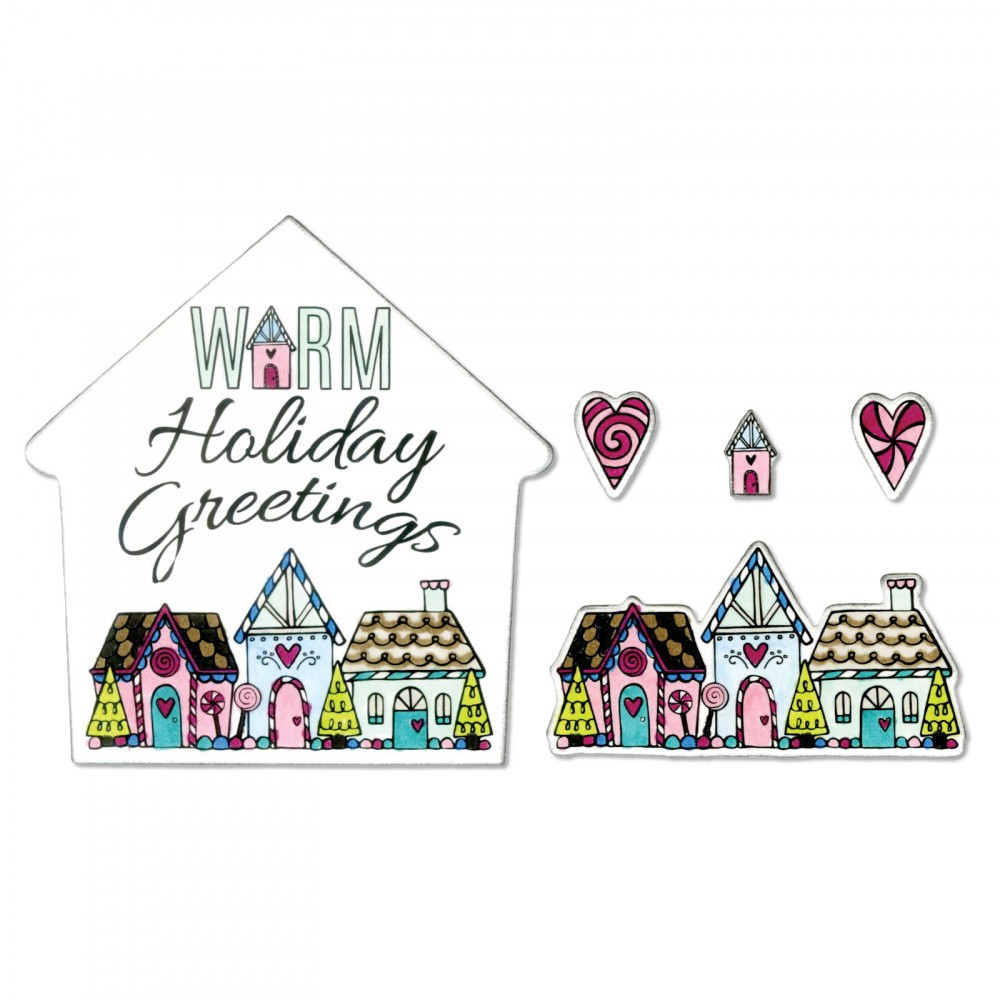 Sizzix sweet christmas warm holiday greetings framelits dies and sizzix sweet christmas collection framelits die with clear acrylic stamp set warm holiday greetings m4hsunfo