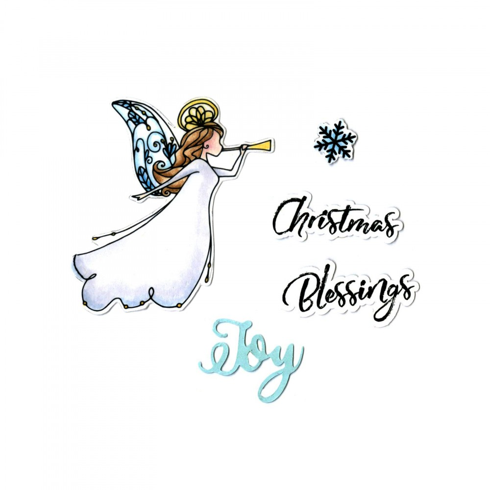 Sizzix Christmas Blessings Angel Framelits Dies And Stamp Set