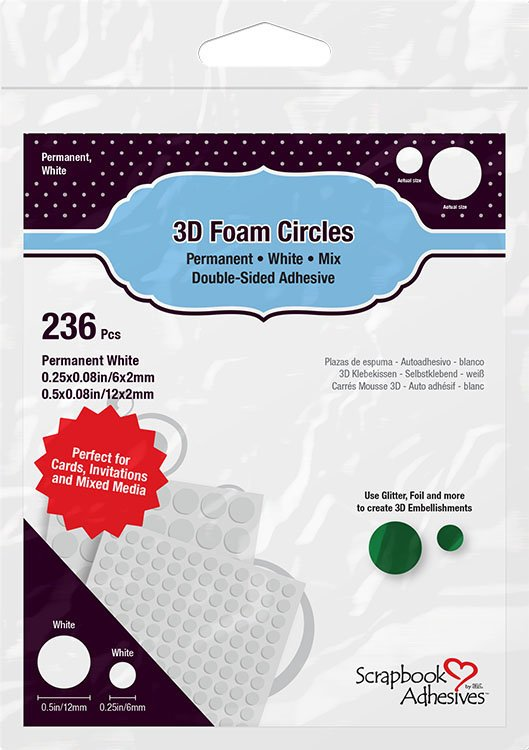 Scrapbook Adhesives by 3L Foam Circles Mix, White