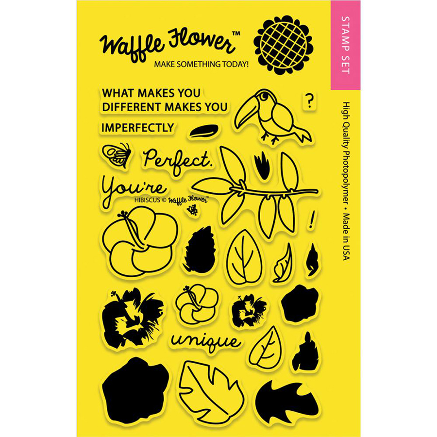 Waffle Flower Crafts Hibiscus Craft Die And Stamp Set Bundle